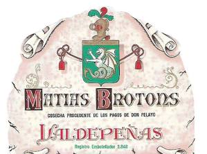 """Una vieja etiqueta de las desaparecidas bodegas familiares: """"Matías Brotóns y Hermanos"""", en Valdepeñas, que se empezó a utilizar hacia 1975, en botellas de tres cuarto del litro, en vinos de Reserva."""