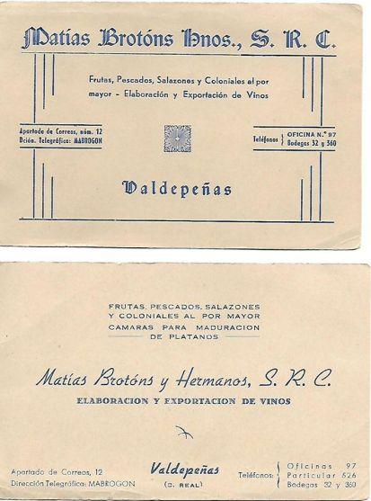 Dos tarjetas de visita utilizadas en los años 50 y 60 de una de las empresas familiares, en las que trabajó, en las oficinas, el poeta Joaquín Brotóns.