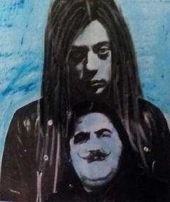 Retratos del pintor Oscar Benedí y el poeta J. Brotóns. Autora: Xaro. Técnica: Mixta/Papel.